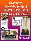 Halloween Scientific Method Metrics Review Task Cards, simple materials,EDITABLE