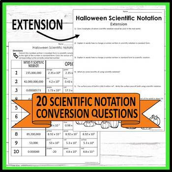 Halloween Scientific Notation Middle School Math Coloring Activity