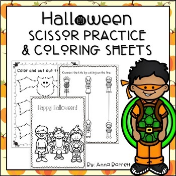 Halloween Scissor Practice and Coloring Sheets