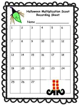 Halloween Scoot Activity - Multiplication Facts