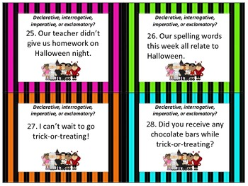 Halloween Scoot Declarative, Interrogative, Exclamatory, and Imperative
