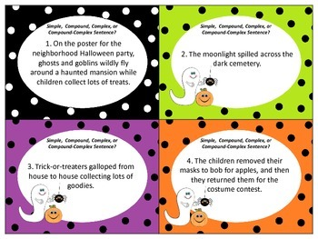 Halloween Scoot: Simple, Compound, Complex, Compound-complex Sentences