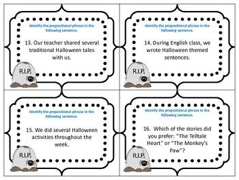 Halloween Scoot Identifying Prepositional Phrases