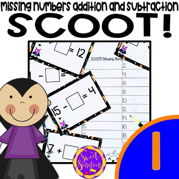 Halloween Math Scoot! Missing Addition and Subtraction Num