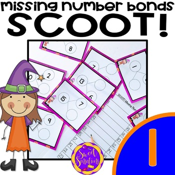 Halloween Math Scoot! Missing Number Bond (1.OA.D8)