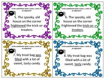 Halloween Scoot Nouns, Verbs, Adjectives