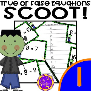 Halloween Math: True or False Equations Scoot Game or Task Cards