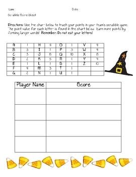 Halloween Scrabble Game