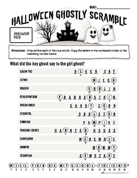 Halloween Scramble Puzzle - (Ghostly Scramble)