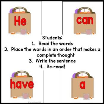 Halloween Literacy Activities ~ Scrambled Sentences and Build a Sentence