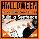 Halloween Center Activity  Scrambled Sentences and Build a