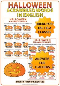 Halloween Scrambled Words Worksheet in English