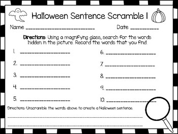 Halloween Game: Magnifying Glass Word Search