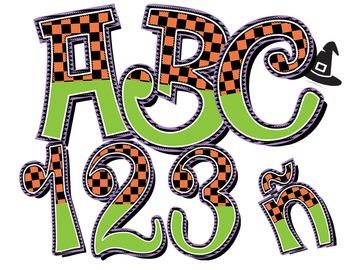 "Halloween Season Alphabet Clip Art /  97 pcs - 3"" High, Vector PDF and PNGs"