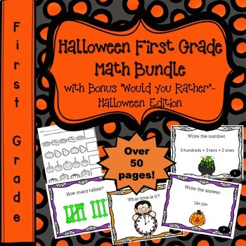 Halloween Math First Grade Bundle & Would You Rather Halloween Edition Slideshow