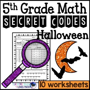 halloween secret code math worksheets th grade common core  tpt