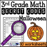 Halloween Secret Code Math Worksheets 3rd Grade Common Core