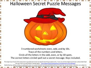 Halloween Number Letter Puzzle Secret Messages