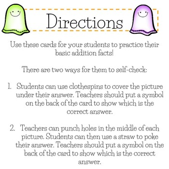 Halloween Addition Self-Checking Task Cards