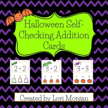 Halloween Addition Self-Checking Task Cards