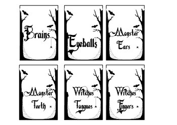 Halloween Sensory Box Labels