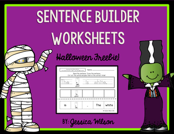 Halloween Sentence Builder Worksheets - Freebie