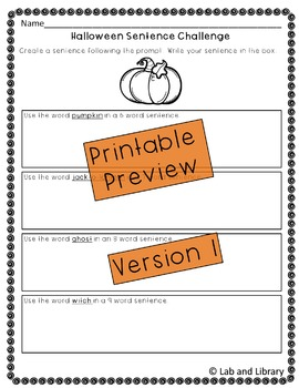 Halloween Sentence Challenge: Oral Language and Writing Practice