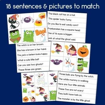 Halloween Sentence Picture Match Reading Center
