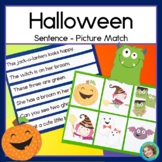 Halloween Literacy Center with Sentence Picture Match, posters, more
