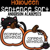 Halloween Sentence Sort: Complete vs. Incomplete Sentences
