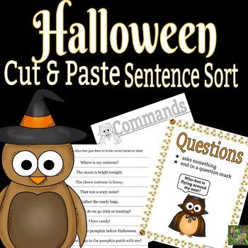 Halloween Sentence Sort - Cut and Paste