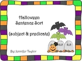 Halloween Sentence Sort-subject and predicate