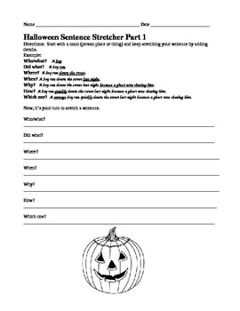 Halloween Sentence Stretchers