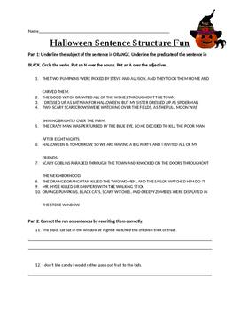 Halloween Sentence Structure Fun