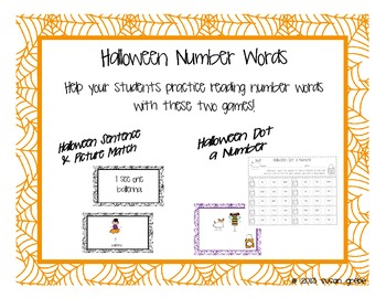 Halloween Number Words (Sentence/Picture Match & Dot a Number)