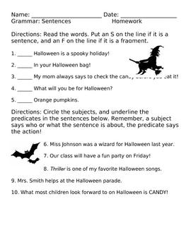 Halloween Sentences