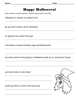 halloween sentences correct and rewrite the sentences by kelly connors. Black Bedroom Furniture Sets. Home Design Ideas