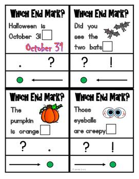 Halloween Sentences - End Marks Punctuation