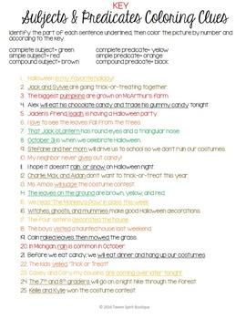 Halloween Grammar Fun: Subjects/Predictioates - Color By Code!