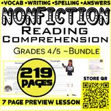NonFiction Reading Comprehension Passages & Questions   Bundle   Grade 4-5