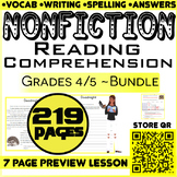 Nonfiction Reading Passages & Questions | Bundle | 219 Pag