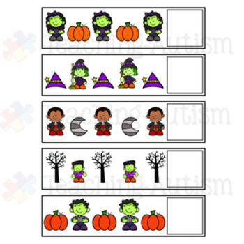 Halloween Sequencing What Comes Next Task Cards