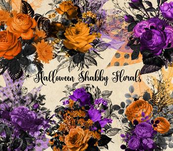Halloween Shabby Floral Clipart, vintage antique Gothic bouquet png graphics