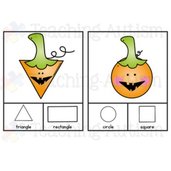 Halloween Activities Shape Recognition Task Cards