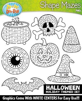 Halloween Shaped Mazes Clipart Set {Zip-A-Dee-Doo-Dah Designs}