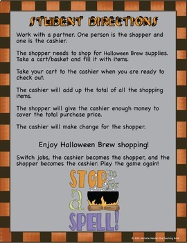 Halloween Money Math Center