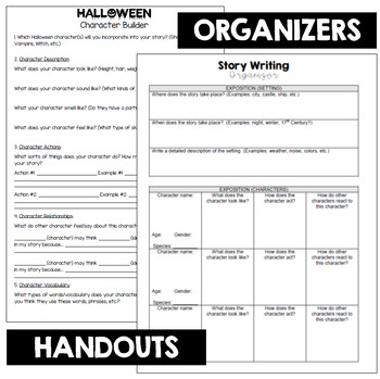 Halloween Writing Short Story INTERACTIVE NOTEBOOK Flip Book