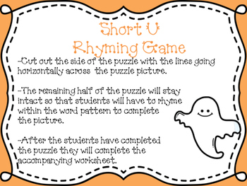 Halloween Short U Rhyming Puzzle FREEBIE