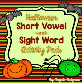 Halloween Short Vowel/Sight Word BUNDLE! (Word Sorts, Bing