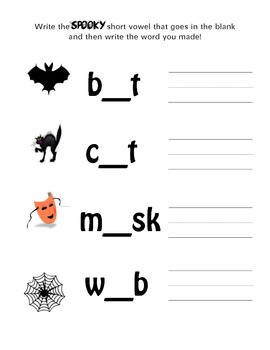 Halloween Short Vowels in Spooky Words